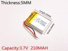 10pcs Chinese 502025 3.7v lithium ion battery 210 mah Li polymer battery for portable audio and flashlight led