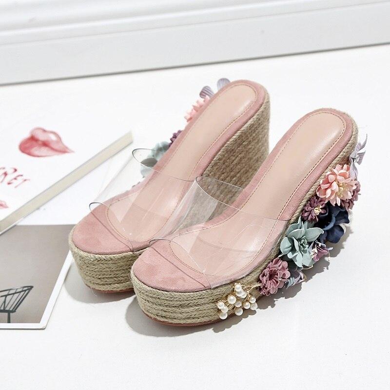 Nave Mujer Cordón Pvc Flor Llegadas Envío Corte Sandalias 2018 Cuña Decoración Plataforma Zapatillas Exterior Picture Nuevas As SCRq6x