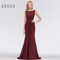Babyonline Dress Long Burgundy Mermaid Evening Dress Sexy V Back Design Sleeveless Backless Formal Evening Gown