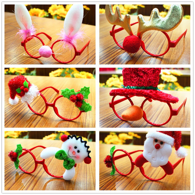 1PC Funny Christmas Ornaments Glasses Frames Christmas Party Toy