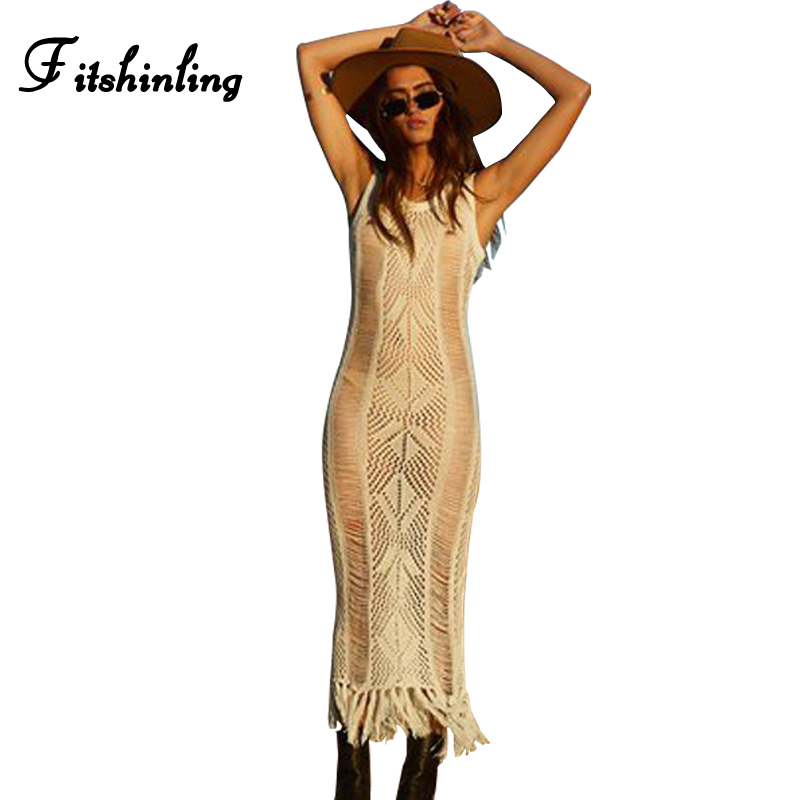 Fitshinling Hollow out knitted long beach dress bohemian swimwear fringe sexy hot summer sundress pareos maxi