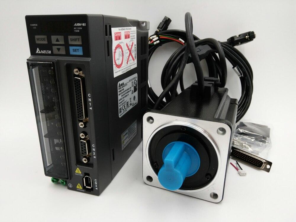 Оригинальный Дельта 750 Вт AC Servo Двигатель drive kit 0.75kw Servo Системы ecma-c20807rs + asd-b2-0721-b 3000 об./мин. 80 мм с 3 м кабель Новый