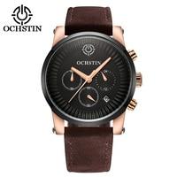 New Fashion Mens Luxury Brand OCHSTIN Watch Men Military Sport Wristwatch Chronograph Leather Quartz Watch Relogio