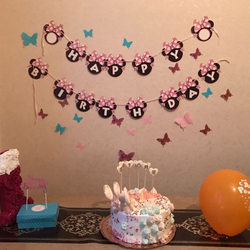 Cartoon animal Minnie Head Mouse Letter Happy birthday Paper Flags Party Bunting Banner for Girls kids Birthday party Decoration
