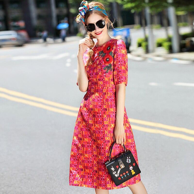 Новый высокое качество дизайнер Milan Fashion 2018 сезон: весна–лето женские вечерние Винтаж Элегантный шик вышивка наклейки красное платье