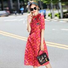 Nowy wysokiej jakości projektant Milan moda 2018 wiosna lato damska Party Vintage elegancki elegancki haft naklejki czerwona sukienka