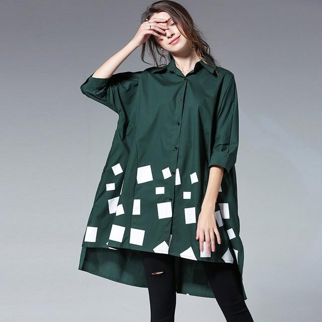 Women Plus size shirts loose Square collar Cotton shirt print long shirt Oversize Women's clothing XL to 4XL Red green black