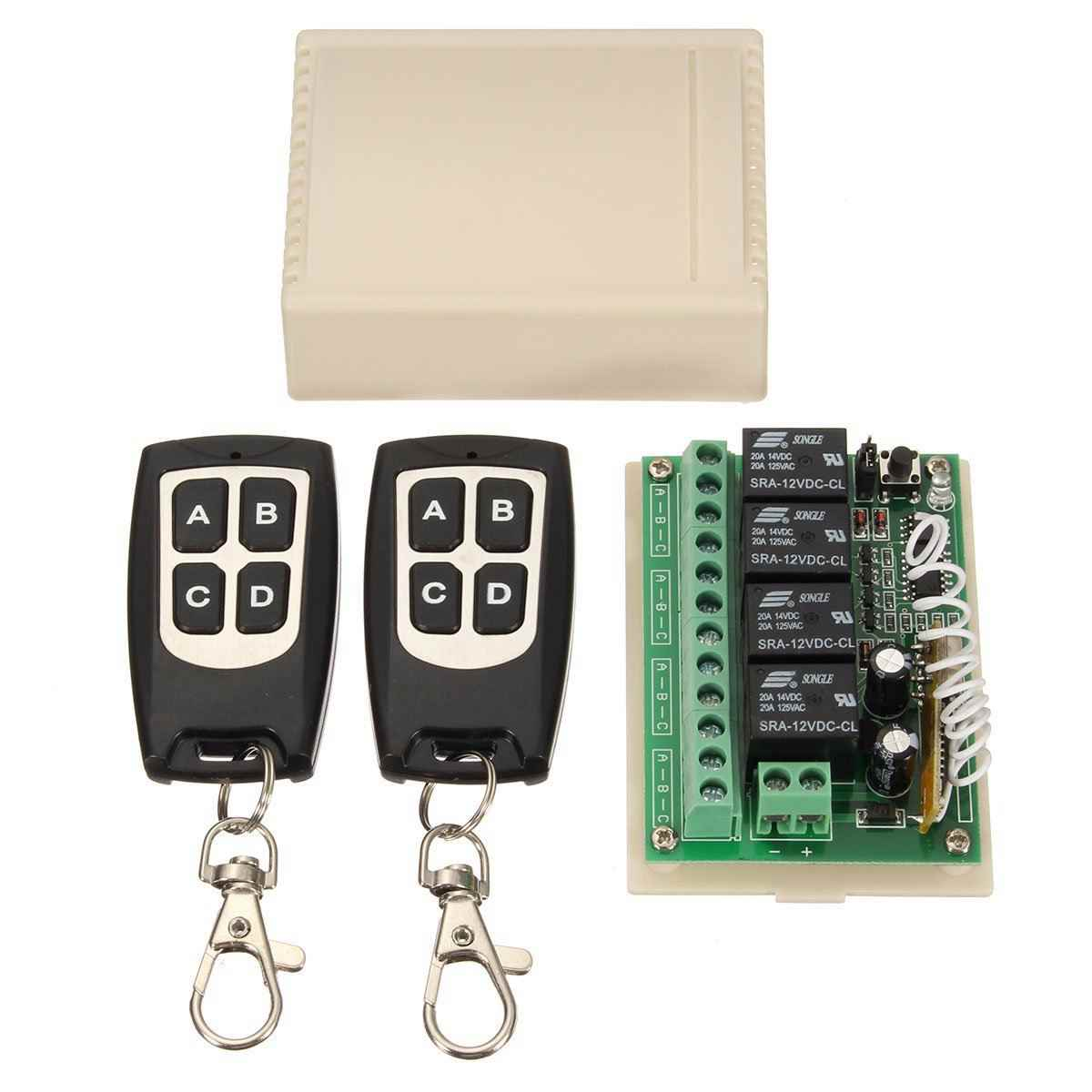 12V 4CH Channel 433Mhz Wireless Remote Control Switch Integrated Circuit  With 2 Transmitter DIY Replace Parts Tool Kits