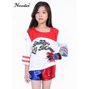 Image 5 - Детский костюм для девочек с джокером, отрядом самоубийц, Харли Квинн, куртка, шорты, рубашка, комплект для детей, Харли Квин Пурим, костюм на Хэллоуин