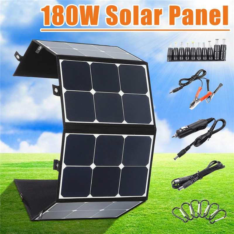 Portátil 180 W 18 V Painel Solar Dobrável Dobrável Porta USB Bateria Carregador Power Bank para o Telefone À Prova D' Água para o exterior