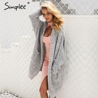 Simplee Knitted Cashmere Long Cardigan Female Soft Warm Loose Plus Size Cardigan 2017 Autumn Winter Casual