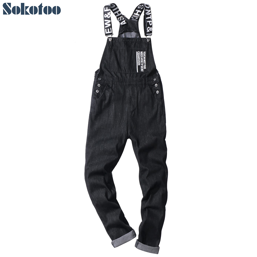 Sokotoo Men's Slogan Letters Printed Black Denim Bib Overalls Fashion Slim Fit Jumpsuits Plus Size Jeans Pants