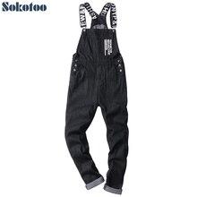 Sokotoo nam khẩu hiệu chữ màu đen in yếm denim áo liền quần Thời Trang ôm dáng phù hợp với bộ đồ bay jumpsuits Plus Kích thước quần