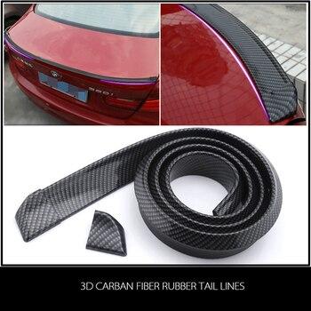 Universal 1.5 metros 3D Capô Traseiro Spoiler Carbono Impressão Carro Tira De Borracha Com 2 Borda Clipe