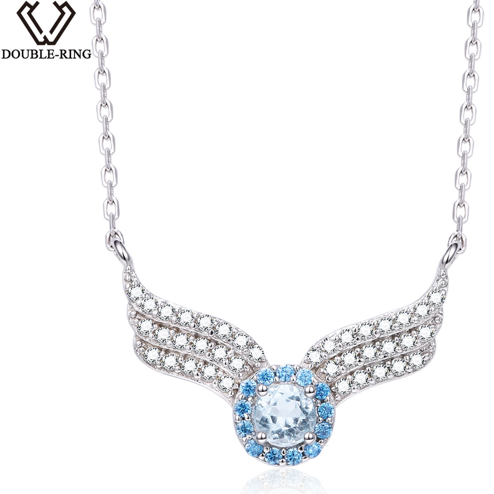 DOUBLE-R 0.35 Ct Blue Genuine Natural Topaz Jewelry 925 Sterling Silver jewelry Necklaces & Pendants Fine Jewelry for Women umcho 3 4ct genuine natural swiss blue topaz gemstone pendants necklaces for women pure 925 sterling silver necklace jewelry