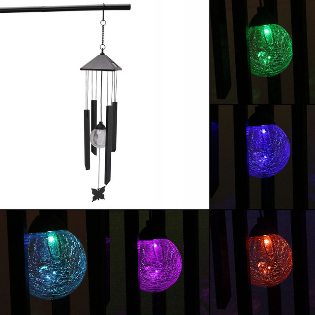 Night Solar Led Wind Chimes Colour Changing Pendant Bell Yard Garden Lamp Accessories Home