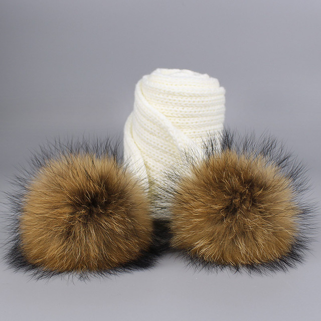New 2 Pieces Set Children Winter Hat Scarf for Girls Hat Real Raccoon Fur Pom Pom Beanies Woman Cap Knitted Winter Hat Wholesale