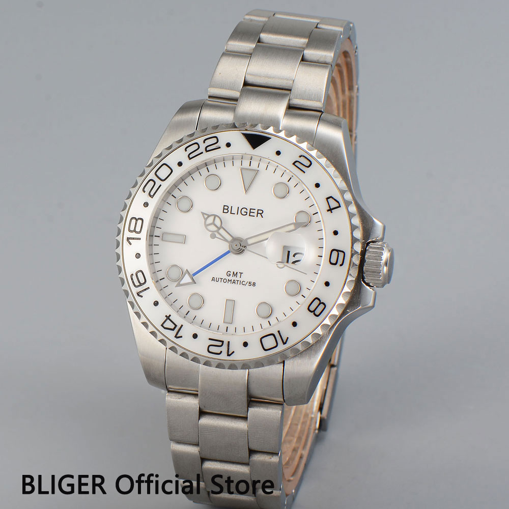 BLIGER 43MM White Dial Ceramic Bezel GMT Function Sapphire Crystal Date Display Sapphire Automatic Movement Men