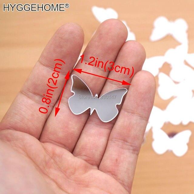 (100 pezzi/lottp) 3*2 cm Farfalla Acrilico Specchio Autoadesivo Della Parete del