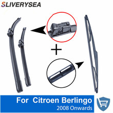 SLIVERYSEA Front and Rear Wipers no Arm for Citroen Berlingo 2008 High Quality Natural Rubber Windscreen 26 '' + 16 ''