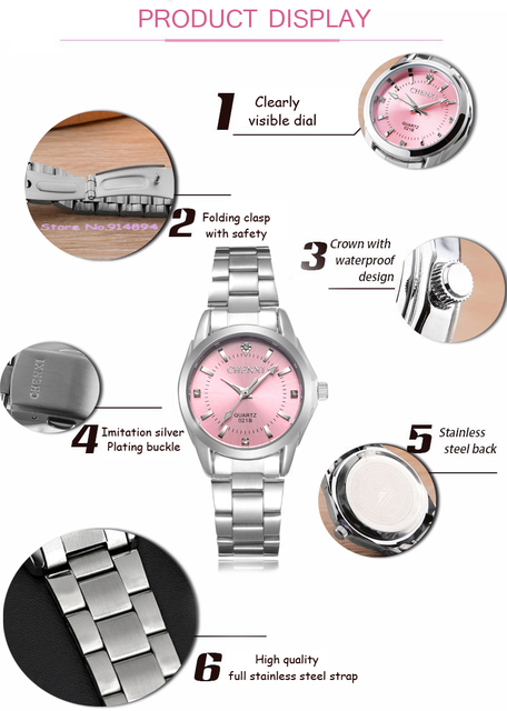 5 Fashion colors CHENXI CX021B Brand relogio Luxury Women's Casual watches waterproof watch women fashion Dress Rhinestone watch 5
