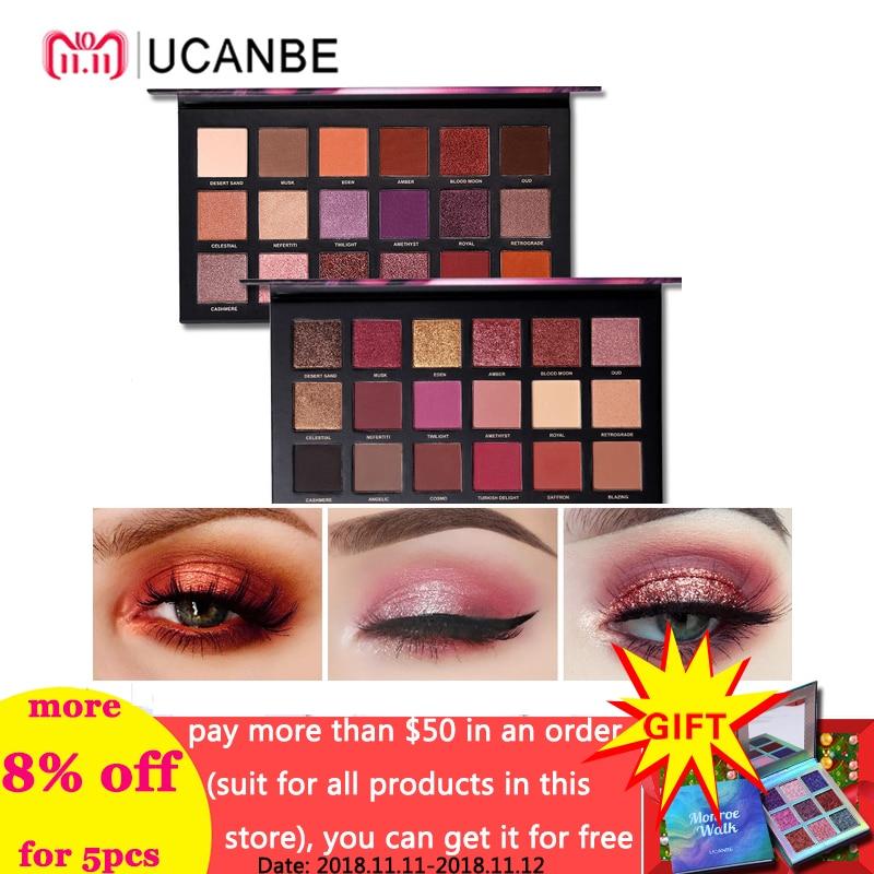 UCANBE Brand Shimmer Matte Eyeshadow Makeup Palette Long Lasting Waterproof Nude Eye Shadow Highlighter Powder Cosmetic Kit