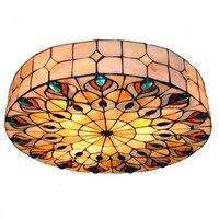 Спальня потолочный светильник творческий Meditteranean Sea Shell павлиний хвост E27 держатель светильник поверхностного монтажа Потолочный светильни