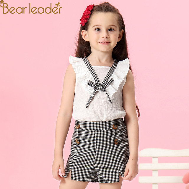 Bear Leader Girls Clothing Sets 2018 New Summer O-Neck Plaid  Kids Clothes T-shirt+Plaid Pants 2Ps Baby Girls Sets For 2-6 Years