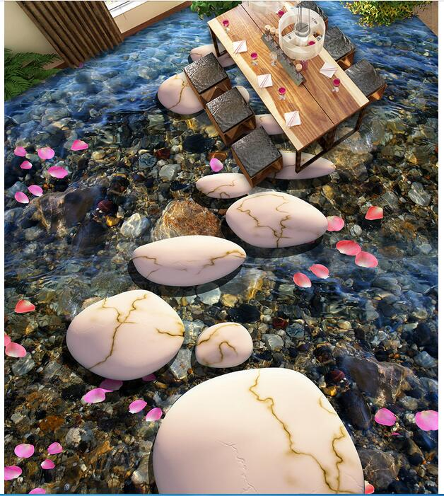 3d flooring waterproof wall paper bathroom custom photo pvc sticker Petals cobble stone path painting wallpaper for walls 3d 3 d flooring custom waterproof 3 d pvc flooring 3 d tree forest leaves 3d bathroom flooring photo wallpaper for walls 3d