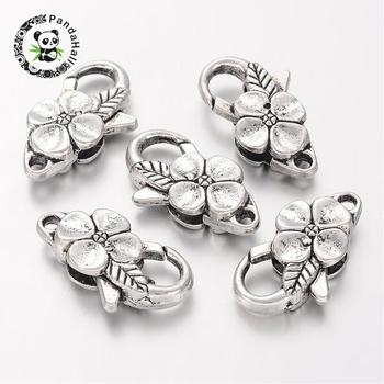 Alloy Lobster Claw Clasps, Flower, Antique Silver, Size: about 14mm wide, 25mm long, hole: 2mm
