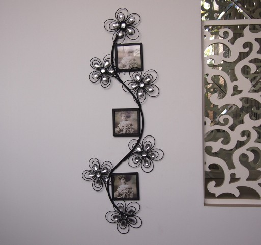 Modern Home Decoration Creative Metal Wall Art Flower With Three Photo Frames As Decor And Gift 88 33cm On Aliexpress Alibaba Group