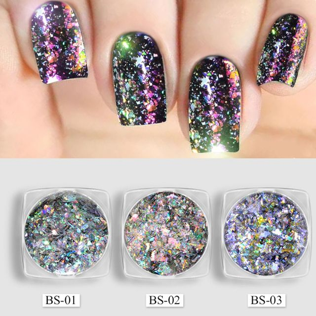 Women Fashion Colorful Magic Nail Art Mirror Glitter Powders Gel Polish Charming Manicure Aluminum Flakes Nail Pigment Sequins-in Nail Glitter from ...