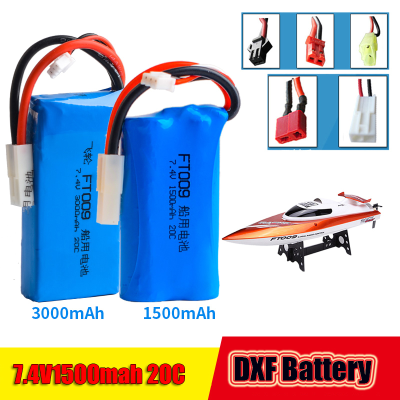 2017 DXF 7.4V 1500mAh 20C lithium polymer battery FT009 remote control boat speedboat FX067C battery Free Shipping 3 7v lithium polymer battery 051 230 501 230 iron general remote control bluetooth headset wireless mouse