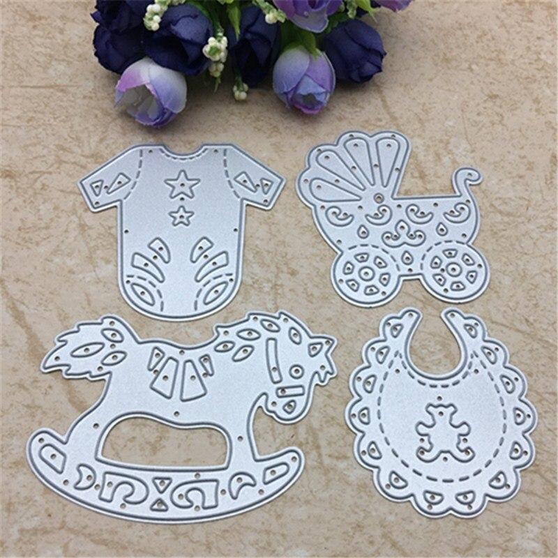 4pcs Baby Suit Carriage Rocking Horse Cutting Dies Stencils DIY Scrapbooking Card Paper Craft Metal Decoration Embossing Folder