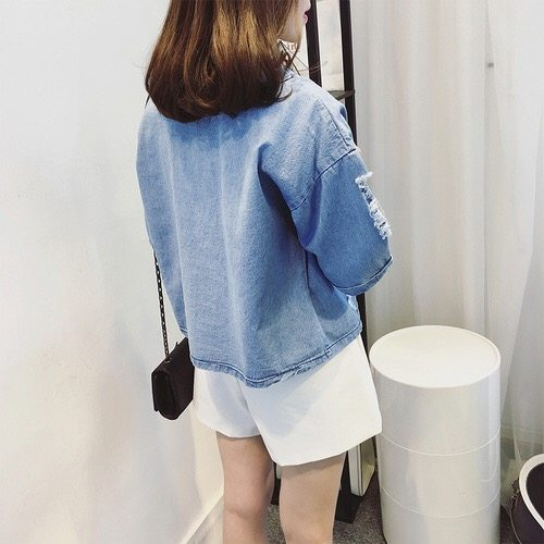 Blusa Real Tumblr 2017 Summer New Women Korean Loose Personality Cowboy T Shirt Female Short Sleeved Coat Tide Thin Clothes