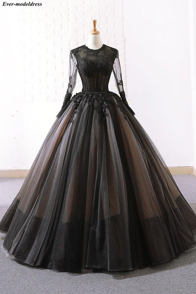 2019 robes de soirée manches longues robes de bal dentelle Appliques o-cou fermeture à glissière arrière longueur Vintage robes formelles Robe de soirée