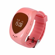 Best 2 Color Blue/ Pink Mini kids GPS watch smart tracker phone gps bracelet google map sos button, free apps gsm gps locator