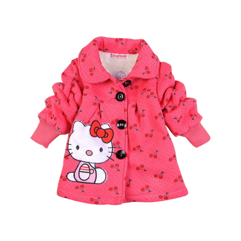 Retail 2015 Fashion Children's coats girls Hello Kitty winter warm coat children cotton jacket thick cotton-padded clothes