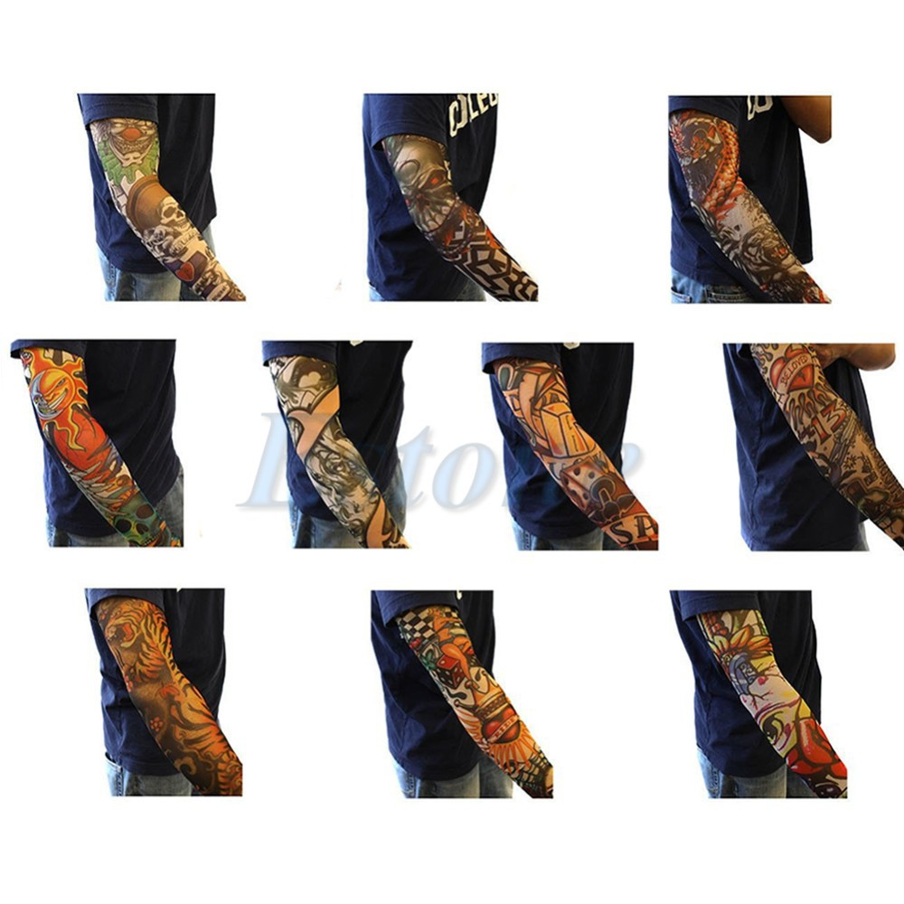Men's Arm Warmers Provided 10pcs Fake Temporary Party Tattoo Slip On Sleeves Body Art Arm Covers Stockings Drop Ship #
