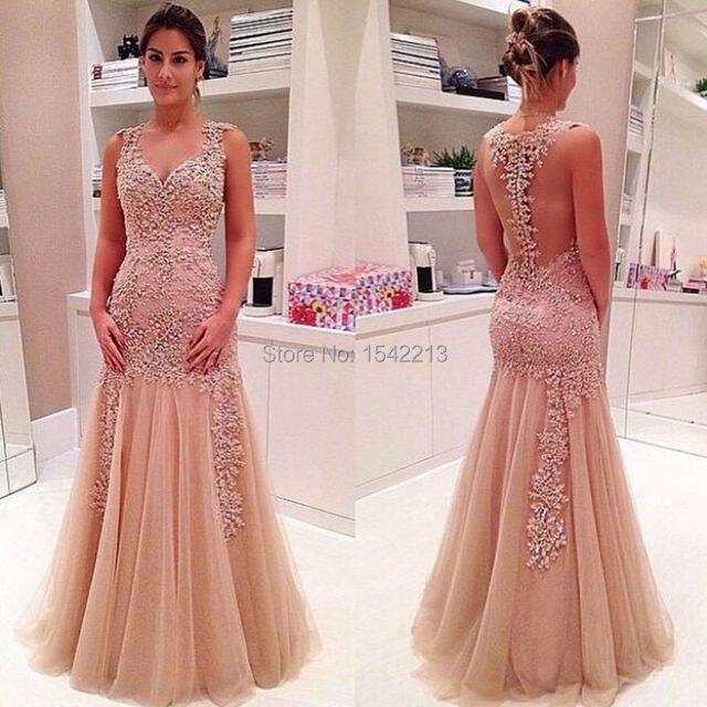 Ajuste y evasé tulle del cordón de la sirena prom dress sweetheart ...