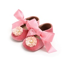 Baby Girl Shoes Bow Flower Flock Toddler Infant Fabric Baby  Little Girl Baby First Walker
