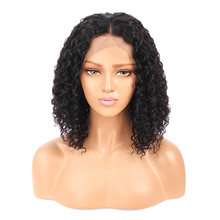 Peruvian Curly Human Hair Wig Bob Wig 13x4 Lace Front Human Hair Wigs For Black Women Pre plucked With Baby Hair Remy Lace Wig(China)