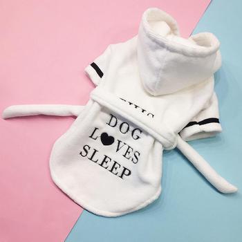 c901da000177d 2019 Pet мужской банный халат кашемировая утолщенная кофта с капюшоном для  домашнего животного ночная рубашка Пижамный халат для собак полоте.