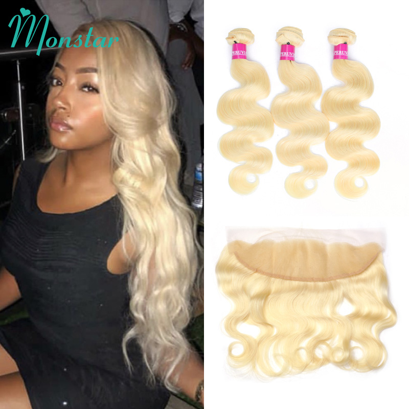 Monstar Remy Blonde Color Hair Body Wave 2 3 4 Bundles with 13x4 Ear to Ear
