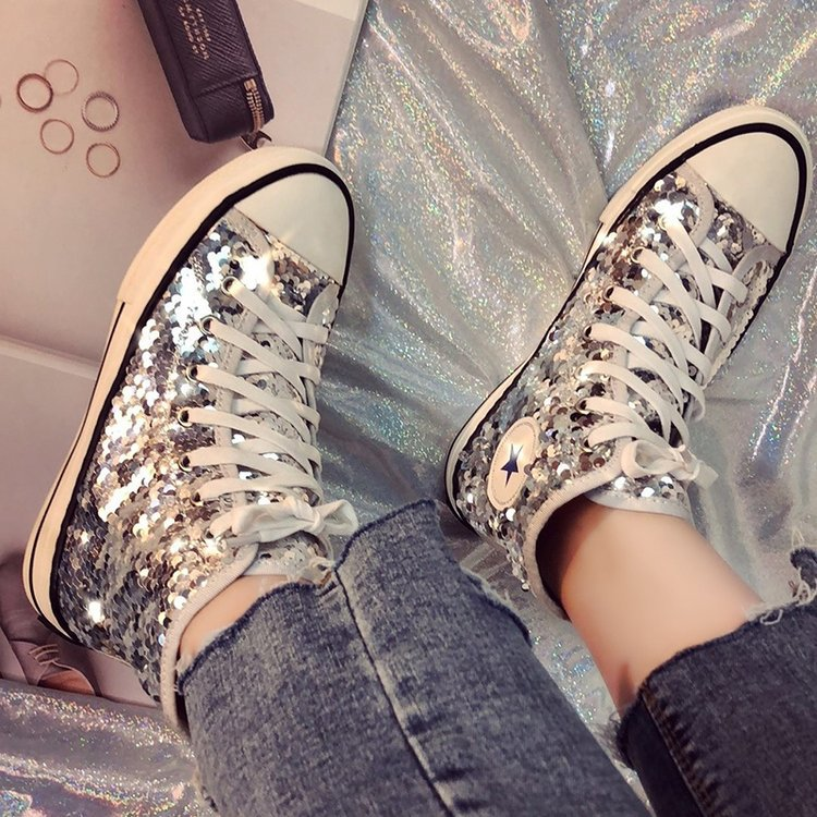 Tleni 2018 New High Top White Women Flats running Shoes Ladies Canvas Shoes lace-up Bling Bling sneaker shoes ZK-20 19