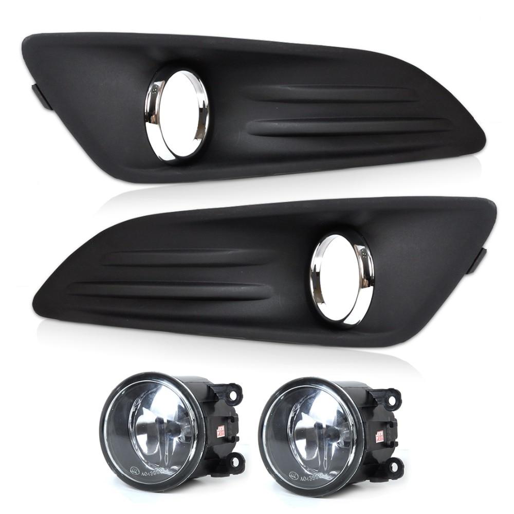 DWCX New Car Black 2pcs Front Bumper Fog Light Cover Grille + 2pcs Fog Light Lamp Set Fit for 2014 Ford Fiesta High Quality 2pcs ltm4600ev ltm4600 new