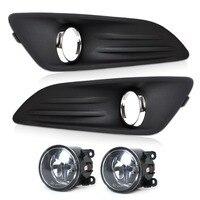 Tracking New Car Black 2pcs Front Bumper Fog Light Cover Grille 2pcs Fog Light Lamp Set
