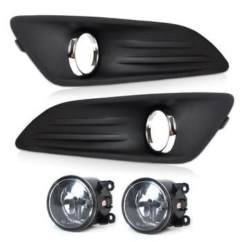 DWCX nowy samochód czarny 2 sztuk światło przeciwmgielne przedniego zderzaka pokrywa kratka + 2 szt światła przeciwmgielne zestaw Lamp nadające się do 2014 Ford Fiesta wysokiej jakości tanie i dobre opinie CN (pochodzenie) ŚWIATŁO STROBOSKOPOWE 12 v 0 81 H11 12V 55W Front Left and Right Side Black