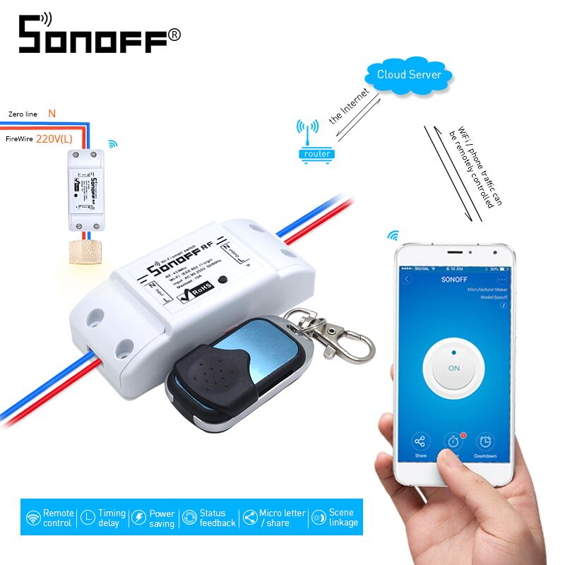 ITEAD SONOFF RF 433 WIFI Smart Switch 433mhz Remote Control Wreless Support Alexa Google Smart Home 10A 2200W RF Receiver 433mhz