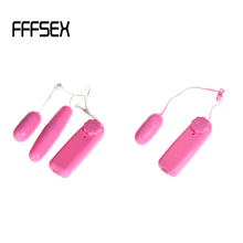 FFFSEX Portable Size Battery Powered Dual Eggs Vibrator Female Vibrating Eggs Vibrator Wire Control Clitoris Stimulator pink
